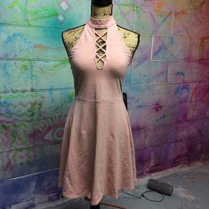 Lace Up Choker Backless Halter Skater Midi Dress